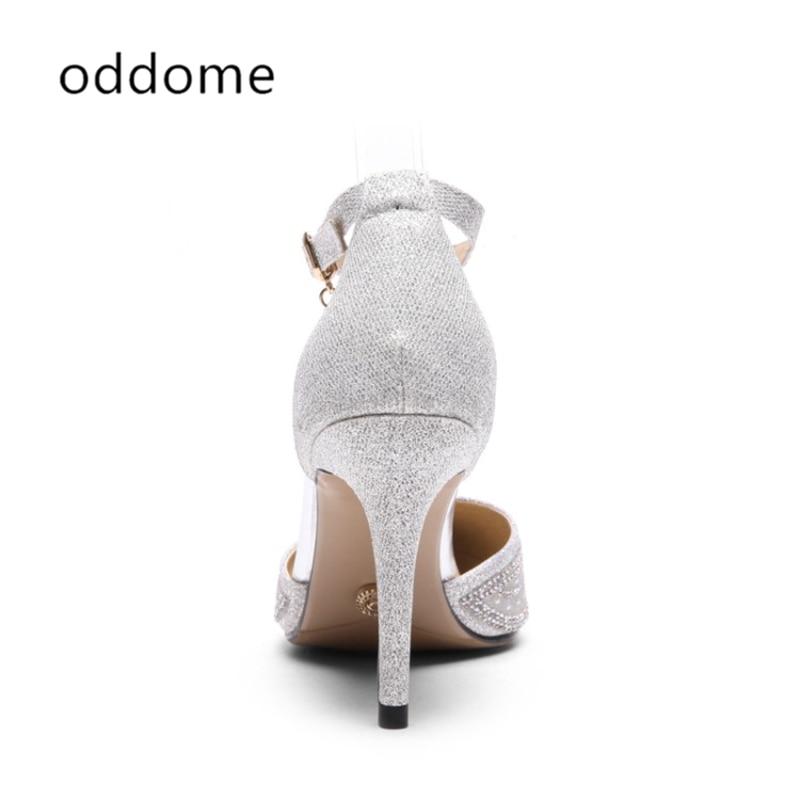 neue Sommer Schuhe Silber weibliche Sandalen Pailletten Tuch Strass - Damenschuhe - Foto 5