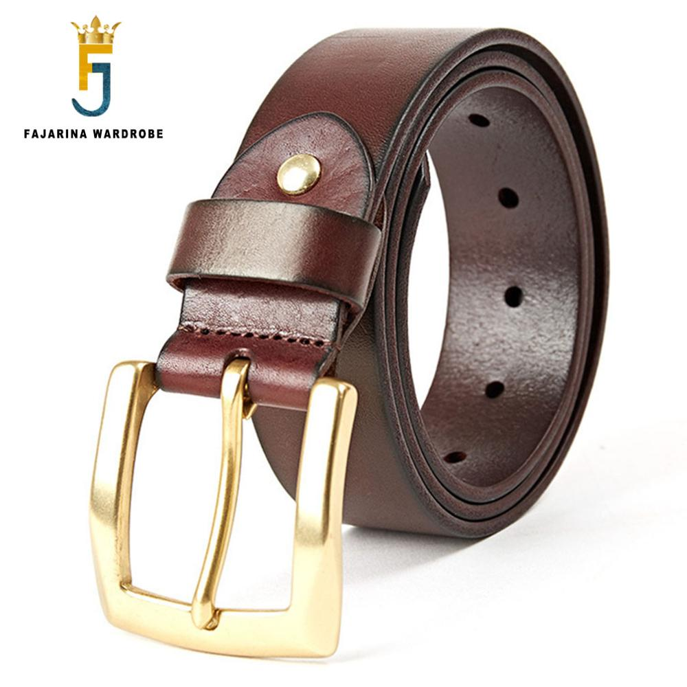 FAJARINA Classic Design Solid Brass Clasp Buckle Belt Mens Retro 100% Pure Cowskin Leather Belts for Men 38mm Width N17FJ350