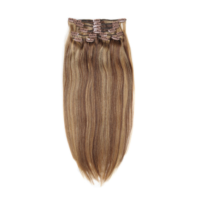 100g Indian Remy Full Head Hair Extensions Mixed Brown Caramel