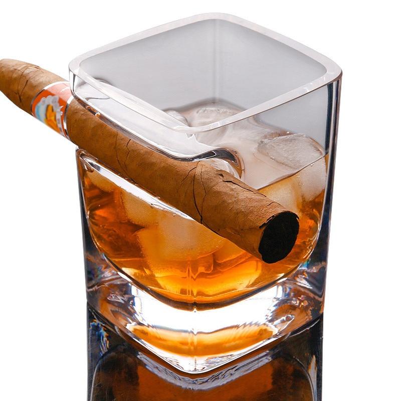 Whisky Cigare cigarette Cristal Bière Importé Vin Liqueur Tasse De Jus Verre Originalité Créative Épaississement Lunettes Carré tasse GPD