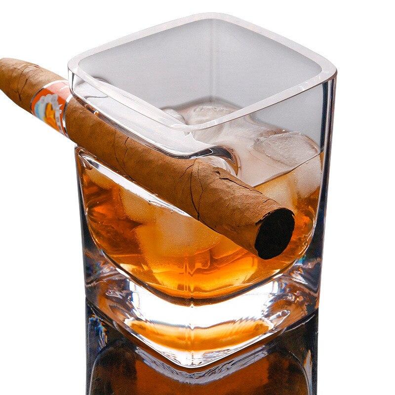 Whisky puro cigarrillo cristal cerveza vino importado licor taza de jugo originalidad creativa gafas espesantes taza cuadrado GPD