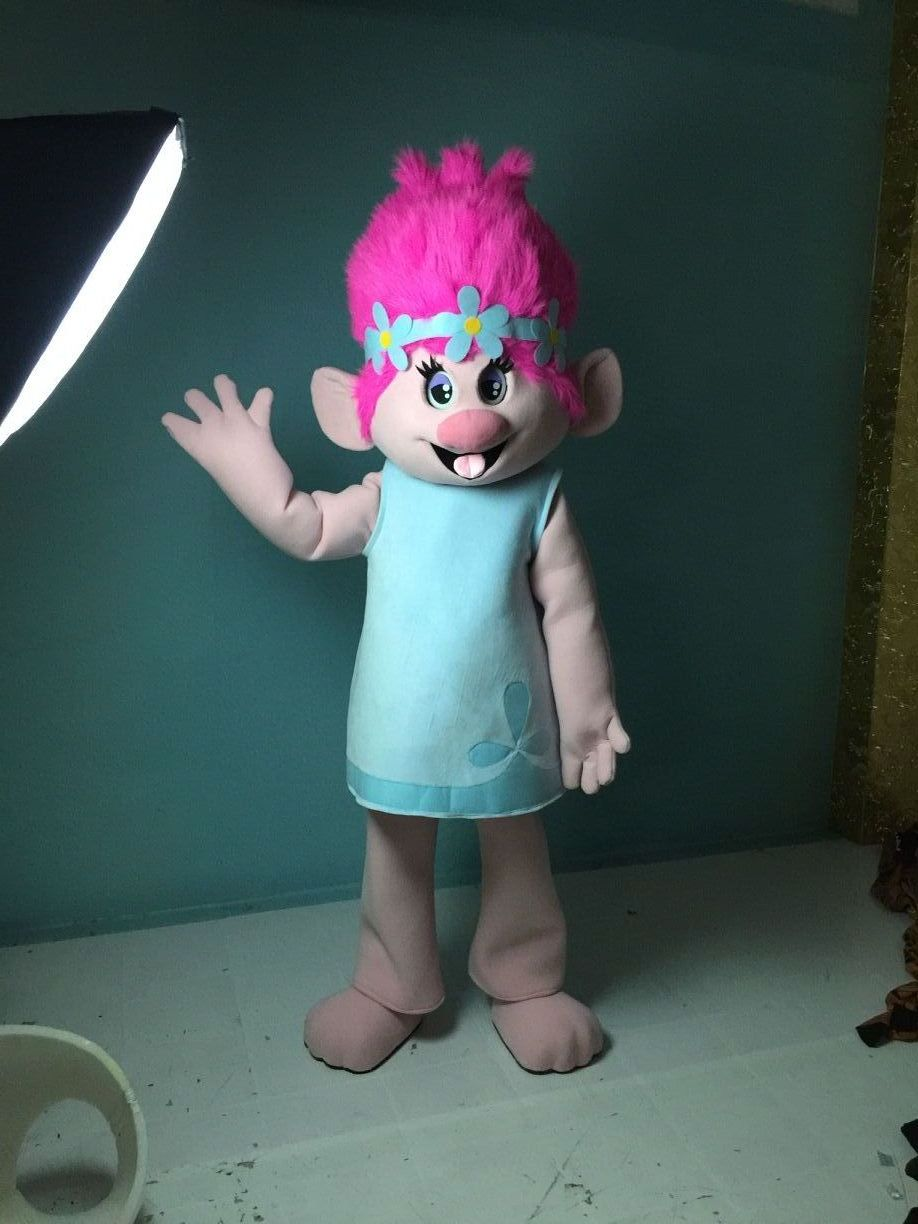 ohlees actual picture New Trolls Mascot Costume poppy branch Parade Quality Clowns Halloween party activity Fancy Outfit dress