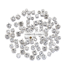 NEW ! MIX Size/some Size white 4mm-8mm Crystal Glass Sew-on Rhinestones Silver or Gold Bottom DIY Womens Dresses 50pcs-200pcs