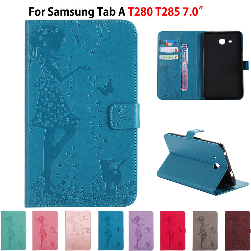 Case For Samsung Galaxy Tab A6 7.0 T280 T285 7 Case Smart Cover Funda Tablet Girl Cat Embossed leather Stand Sleep Wake Shell embossed tpu gel shell for ipod touch 5 6 girl in red dress
