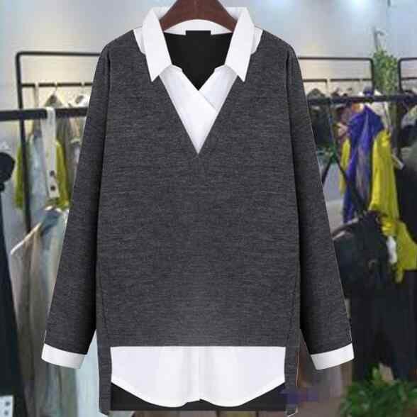 2018 wiosna kobiet topy fałszywe dwuczęściowy bluzki damskie koszula w stylu Vintage skręcić w dół kołnierz koszule luźne szczupła Mujer plus rozmiar 5XL AD4