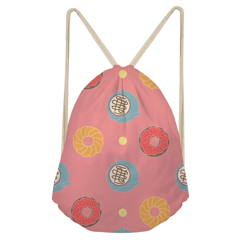 FORUDESIGNS Donuts Women Backpack Pink Drawstring Bag For Kids Girls Sac A Cordon De Serrage Custom Logo Cute Packpack Female
