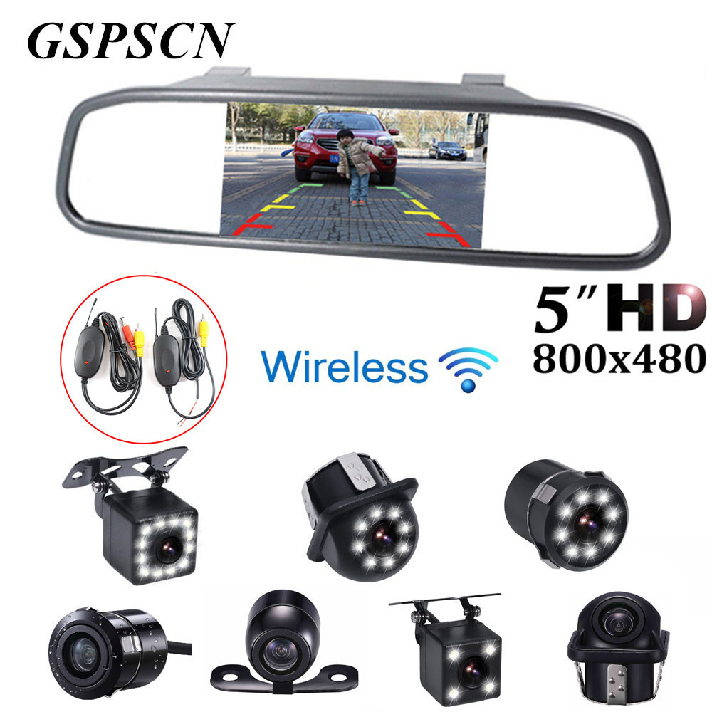 Car Backup Rearview Camera Night Vision Parking Line + 5inch Car Lcd Rear view Mirror Monitor with Wireless Transmitter Receiver цена