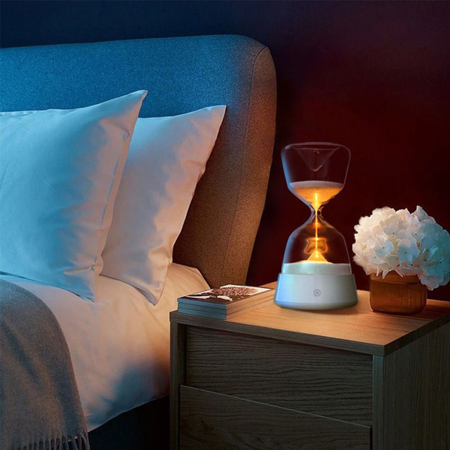 Романтический Красочные Песочные Часы Таймер Ночь Светлый Цвет Изменился Ночной Спящая Таймер Стол Осязаемый Лампы Украшения Песочные Часы Подарок