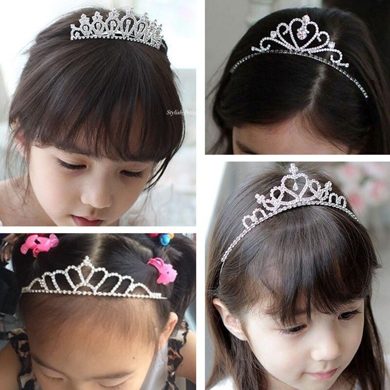Cute Children Tiara Crown Wedding Jewelry Flower Girl Princess Crystal Rhinestone Tiara Headband Birthday Prom Party Gift Coroa