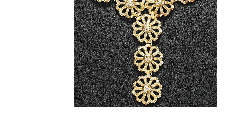 AYAYOO Big Dubai Jewelry Sets For Women Flower Necklace Set Gold Color African Beads Jewelry Set Nigerian Wedding Gift (5)