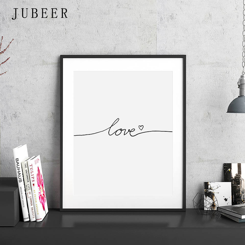 HTB1B6LmD9zqK1RjSZFpq6ykSXXaY Scandinavian Style Love Poster Black and White Canvas Painting Amore Wall Pictures For Living Room Nordic Decoration Home Art