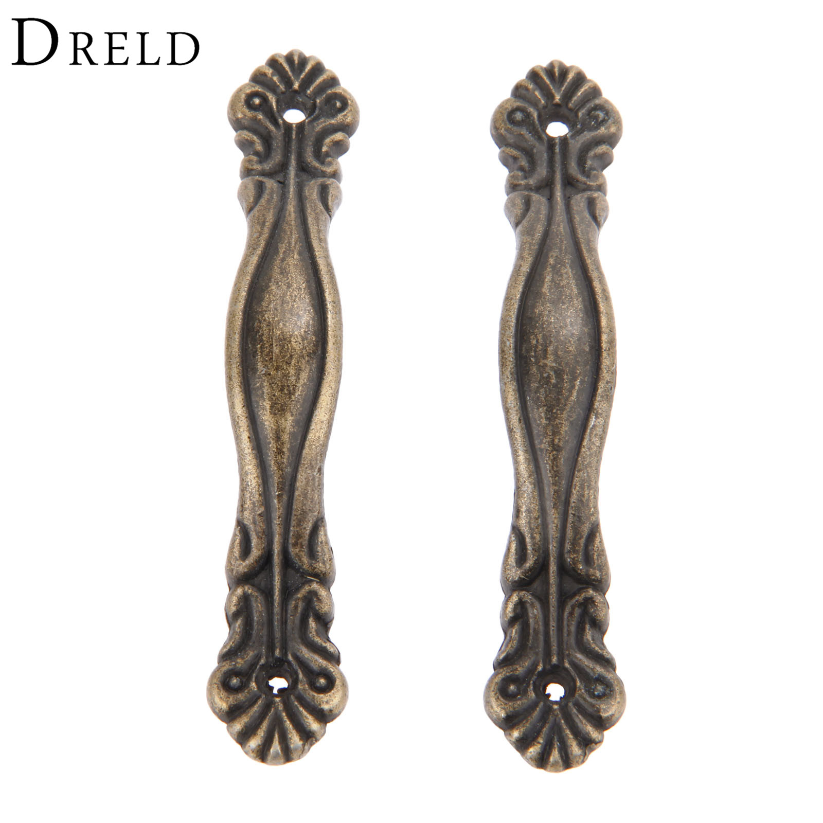 DRELD 2Pcs Antique Brass Furniture Handles Cabinet Knobs and Handles Kitchen Cupboard Pull Handles Furniture Fittings 85*15mm antique hardware furniture handle cabinet knobs and handles retro kitchen knobs drawer cupboard pull handles furniture fittings