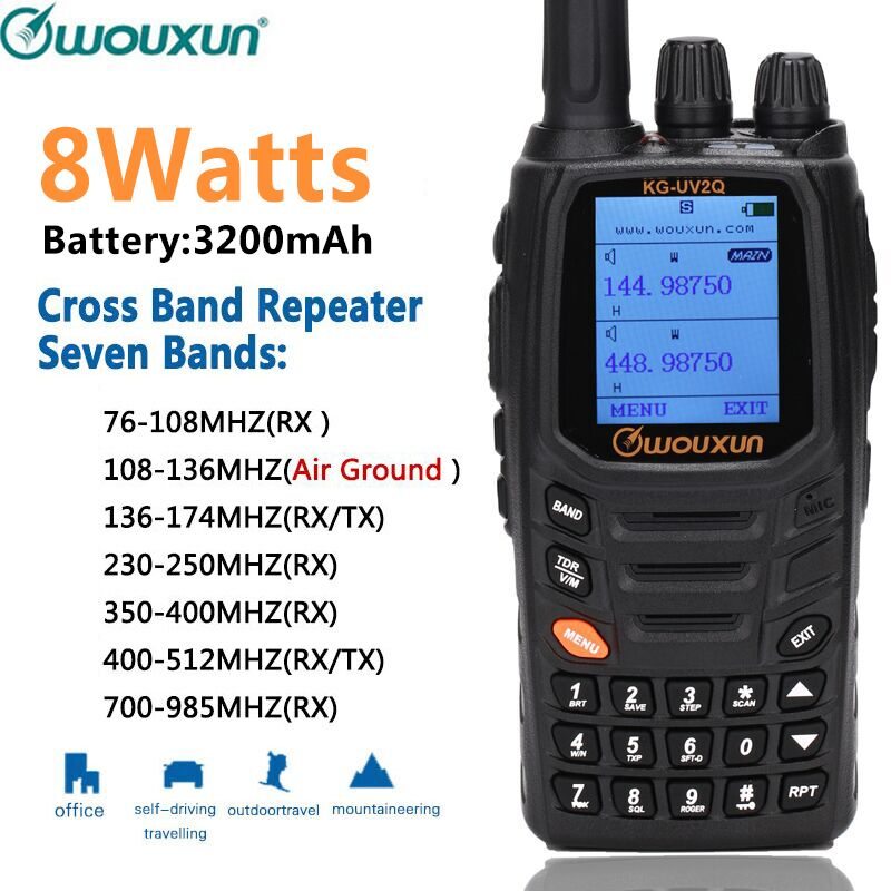 Wouxun KG UV2Q 8W High Power 7 bands Including Air Band Cross band Repeater Walkie Talkie