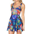 NEW  1051 Sexy Girl Women Summer comic galaxy rose flower 3D Prints Reversible Sleeveless Skater Pleated Dress
