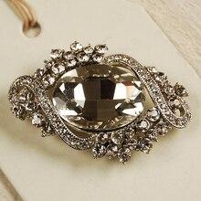 2 дюйма родий посеребренный прозрачный горный хрусталь кристалл большой стеклянный кристалл брошь подружки невесты