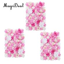MagiDeal 3pcs Upscale Artificial Flower Wall Panels Stage Background Wedding Venue Decor Hot Pink