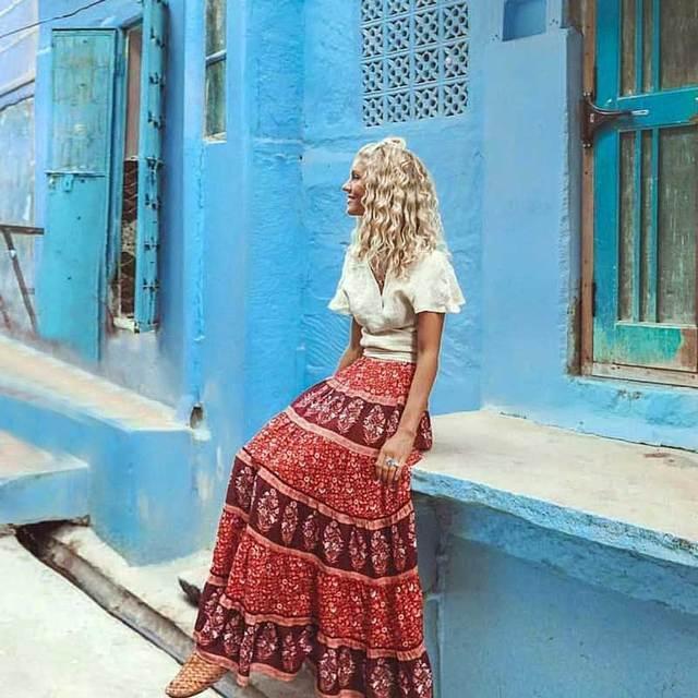 3301a6b87ed098 BOHO INSPIRED floral print patchwork RAYON Maxi Skirt elastied waist swing  skirts women Bohemian long summer autumn faldas Saia