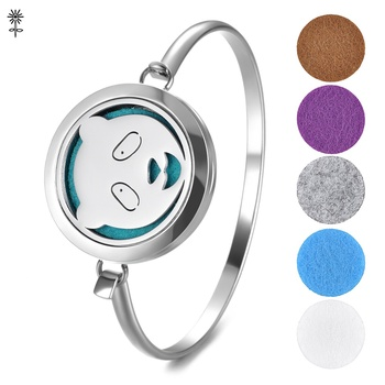 Stainless Steel Essential Oil Diffuser Perfume Locket Bangle Panda Bracelet Magnetic Opening with 5 Color Pads VA-714 image