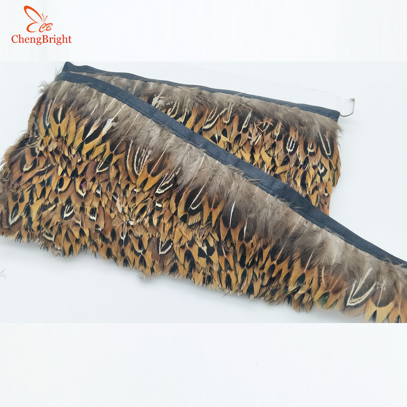 ChengBright Wholesale High Quality 10 Yards Natural Pheasant Feather Ribbon Feathers Trim Fringe Clothing Accessories Wedding K