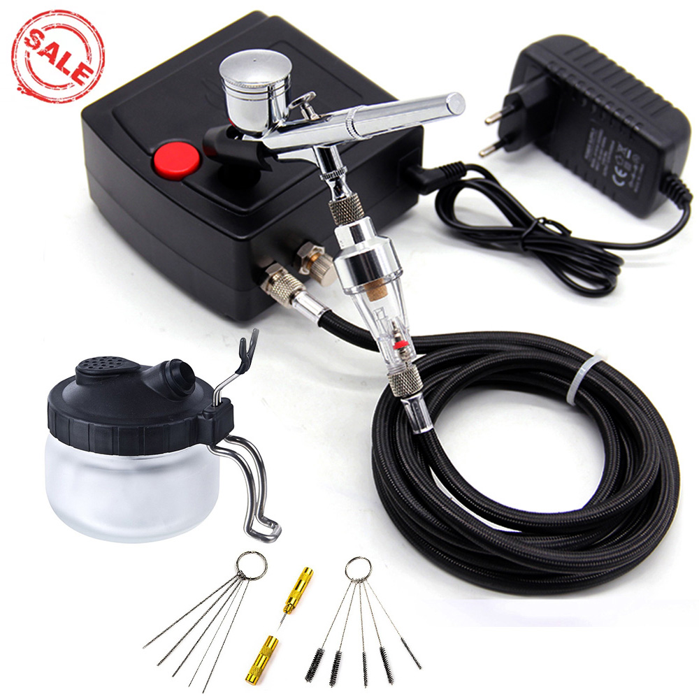 0.3MM 7CC Dual Action Airbrush Spray Gun Air Compressor Kit For Nail Art Painting Tattoo Manicure Craft Cake Spray Air brush-in Spray Guns from Tools on