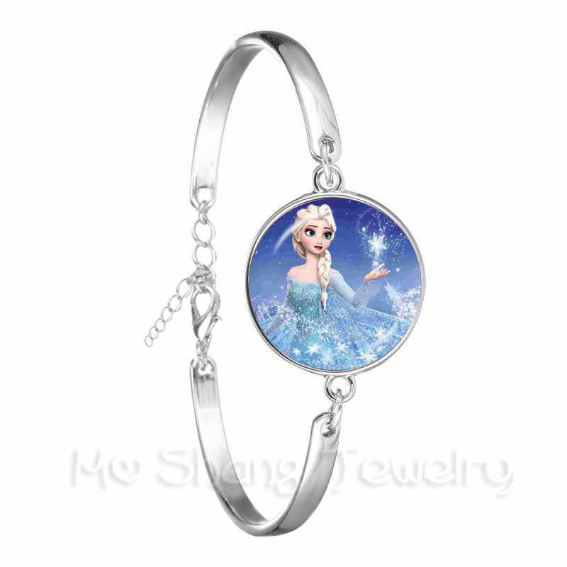 جديد السيدات الكلاسيكية سوار مجوهرات 18 مللي متر الزجاج كابوشون الأميرة إلسا آنا ملكة الثلج الفضة مطلي الإسورة للنساء هدية