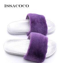 ISSACOCO Womens Flat Real Mink Fur Slippers Women Solid PVC Sole Non-slip Indoor Zapatillas Pantufa