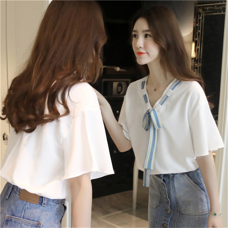 2017 New summer Chiffon blouse women short Sleeve white Chiffon blouse shirts tops with bow tie plus size blusas femininas