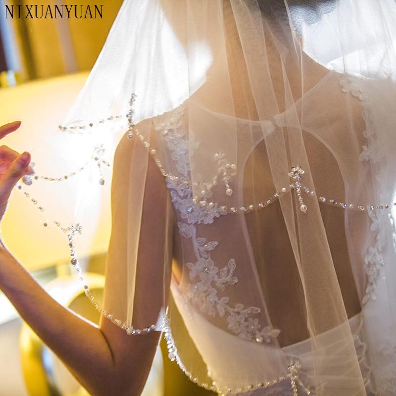 Short Bridal Veils Tulle Pearls Bead Edge Two Layers White Ivory Bridal Wedding Veils Wedding Accessories Handmade 2020