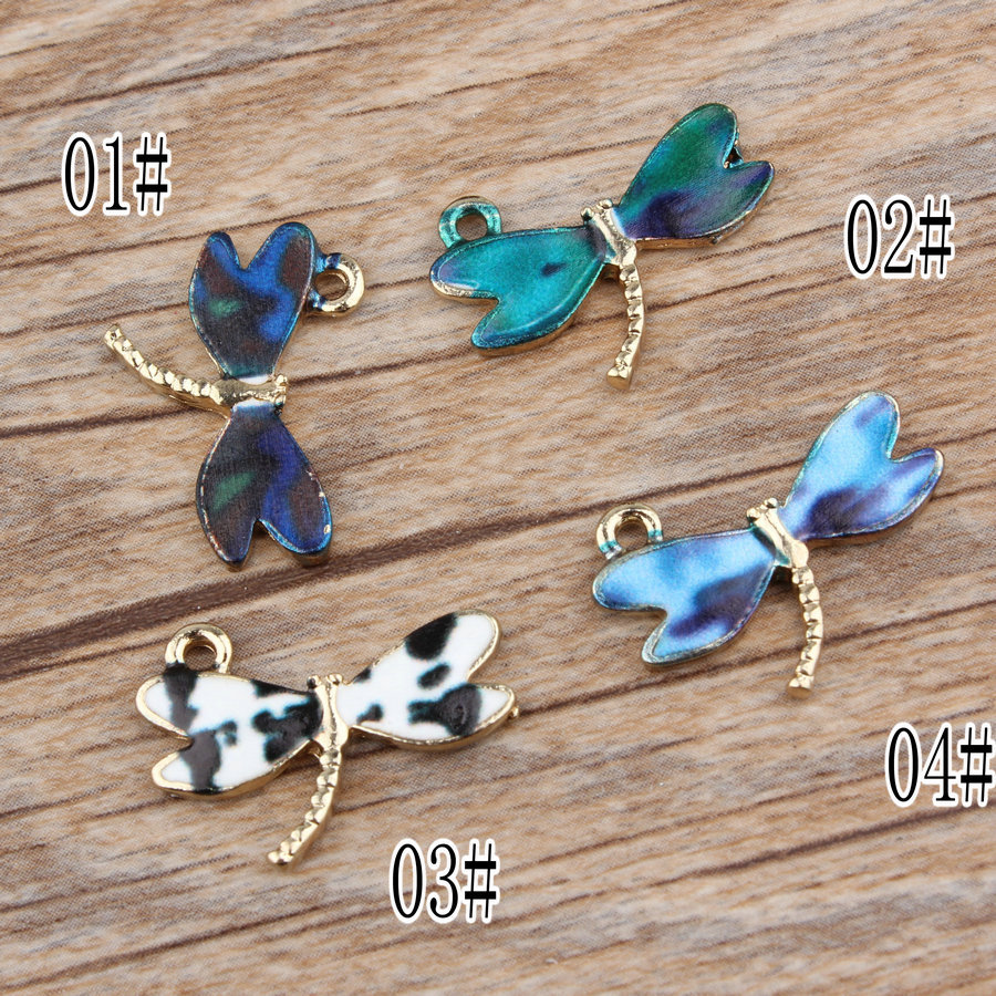 Mini Order 10PCs 15*21MM Enamel Alloy Dragonfly Pendants Gold Color Plated Oil Drop Metal Bracelet Necklace Charm Pendant