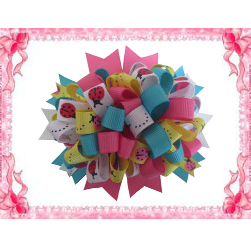 "14 BLESSING Happy Girl Boutique 4.5/"" Loopy Puffs Fireworks Hair Bows Clip"