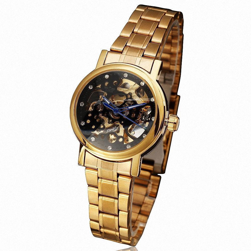 WINNER Luxury Fashion Women s Mechanical Wrist Watch Stainless Steel Strap Rhinestone Decoration W Box