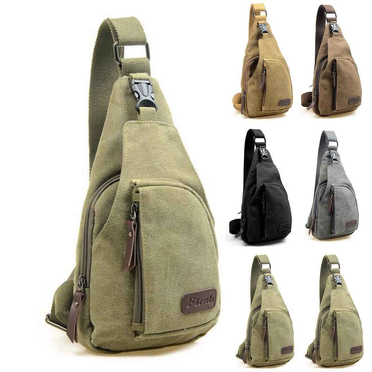 2018 Brand New Men Vintage Canvas Leather Satchel Shoulder Sling Chest Pack Bag