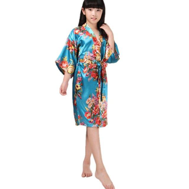 d73a3a93875c Bambini Floreale Raso Rayon Kimono Damigella D'onore Del Fiore di Stampa  Accappatoio Da Notte