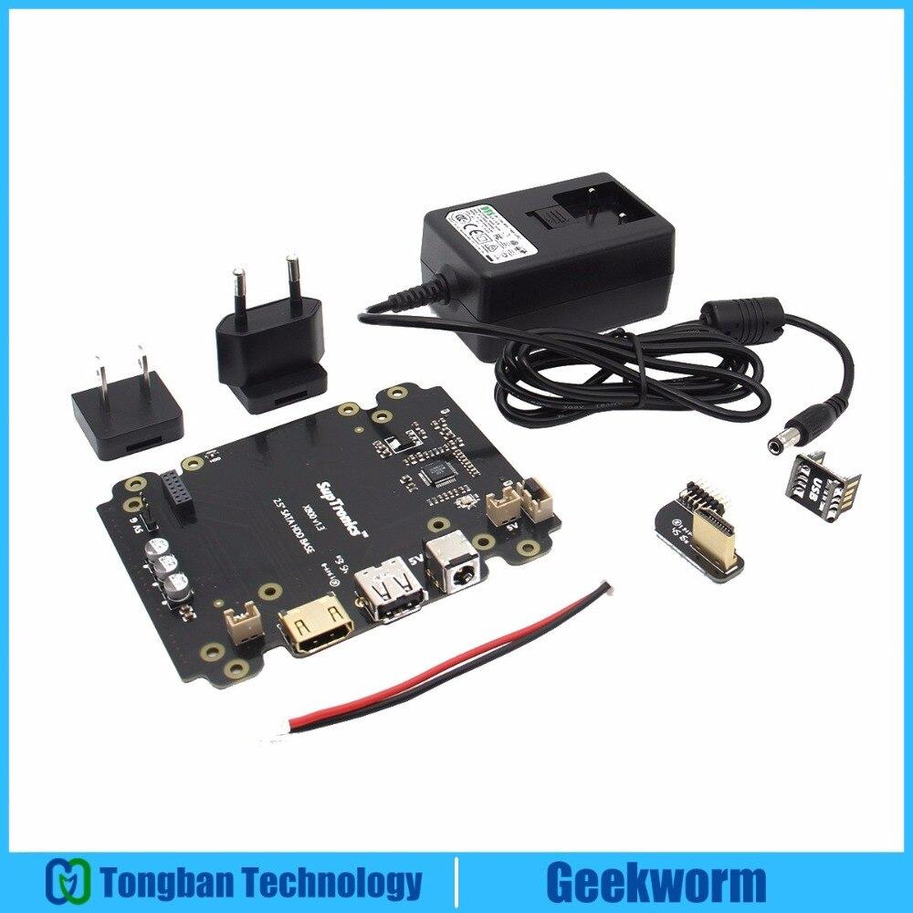 Prix pour DC 5 V 4A Puissance Adaptateur w/UE/US Plug + X800 2.5 pouce SATA HDD/SSD D'extension de stockage Conseil Kit pour Raspberry Pi 3 Modèle B/2B/B +