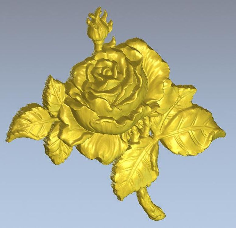 3d Model Relief  For Cnc In STL File Format Rose_1