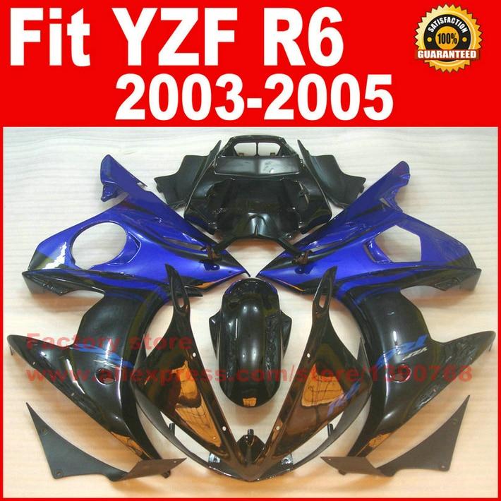 Цвет синий, черный; большие размеры Moto Запчасти для YAMAHA R6 обтекатель комплект 2003 2004 2005 тела комплект Обтекатели 03 04 05 R6 B72