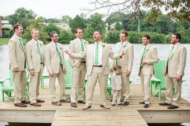 Latest Coat Pant Design Beige Linen Groomsman Beach Wedding Men Suit Slim Fit Suits 2 Piece