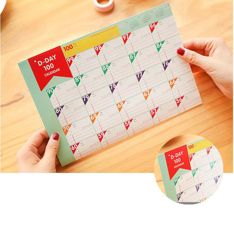 Schedule 100 Days Countdown Daily Weekly Monthly Calendar Target Organizer Work Fitness Schedule Life Self-Discipline Table 2pc