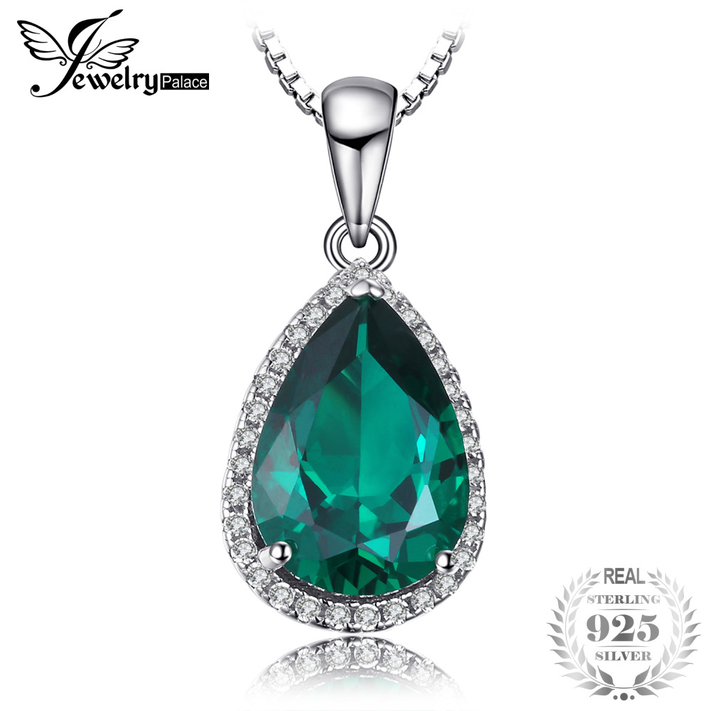 JewelryPalace Pear 6ct Created Emerald Pendant Genuine Real Solid 925 Sterling Silver Jewelry Without the Chain
