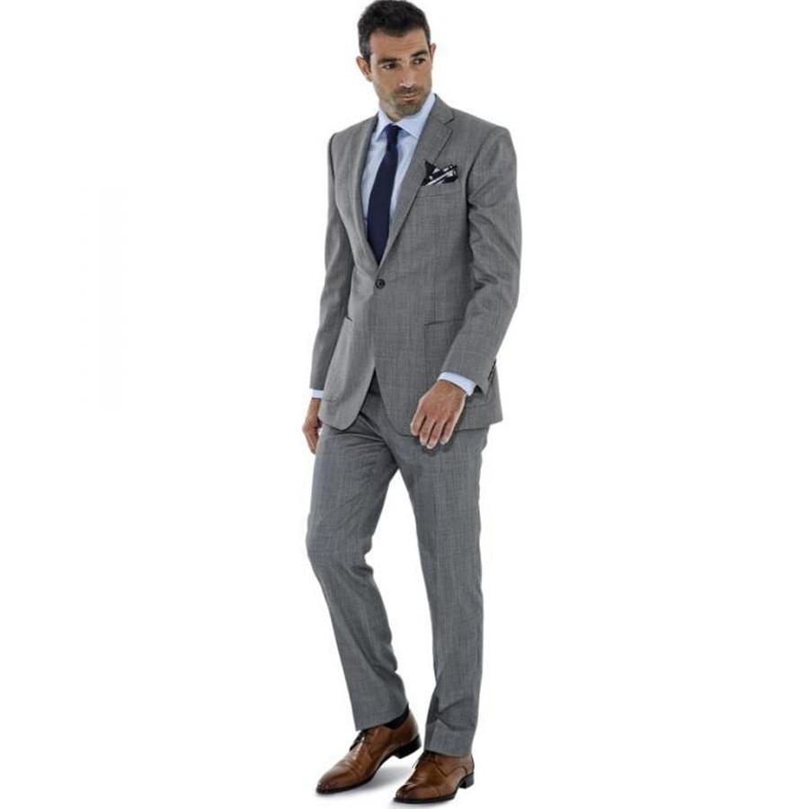 Slim Fit Tuxedo Grey Wedding Suits For Men 3 Piece Suit (Jacket  ...