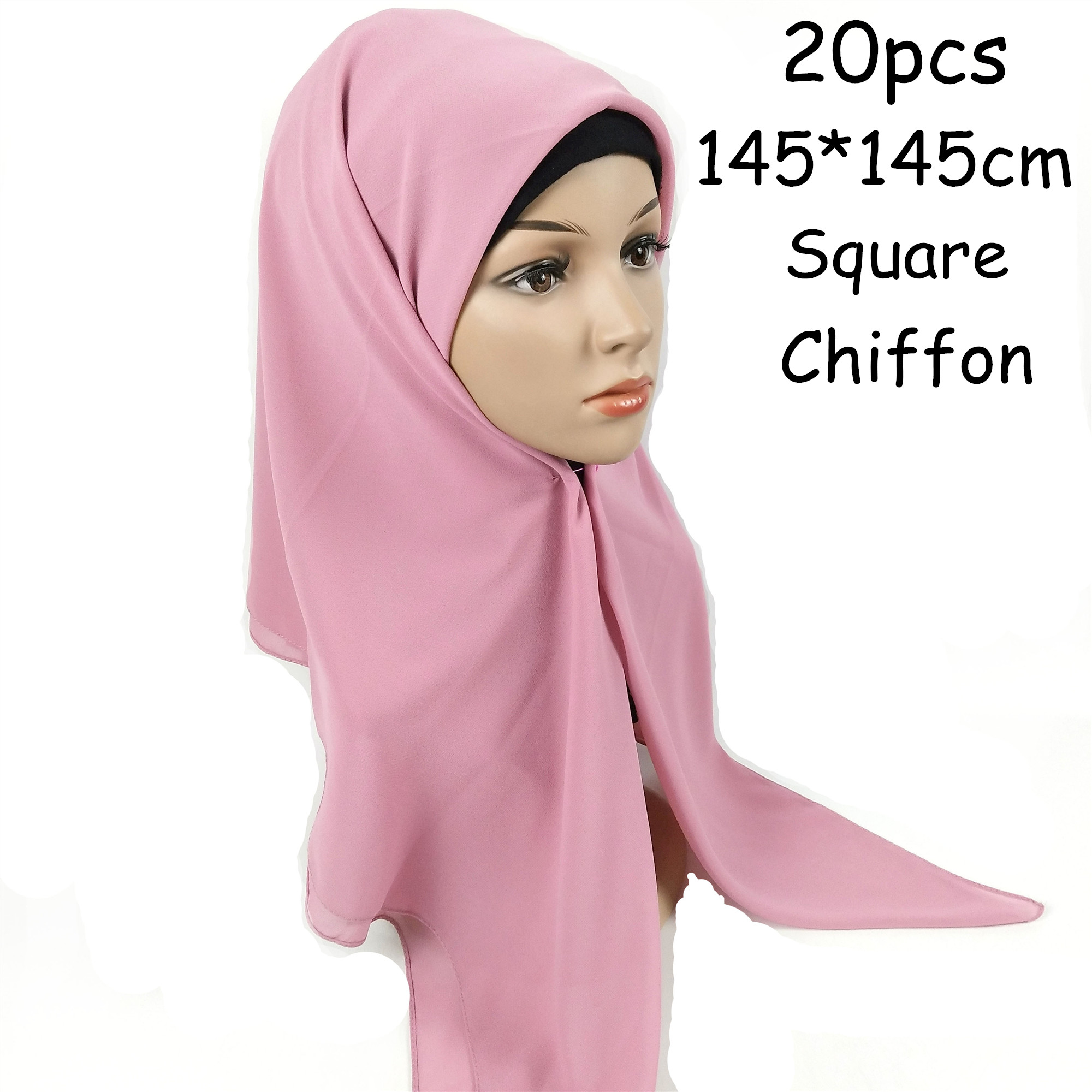 H1 20PCS High quality square chiffon hijab   scarf   shawl 145 * 145cm square chiffon women   scarves     wrap   headband