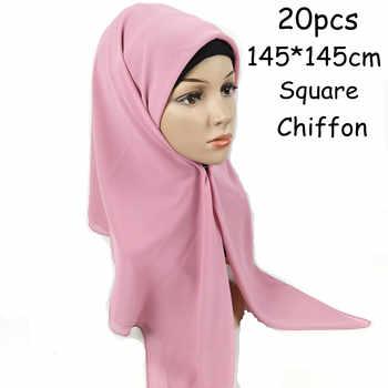 H1 20PCS High quality square chiffon hijab scarf shawl  145 * 145cm  square chiffon women scarves  wrap headband - SALE ITEM All Category
