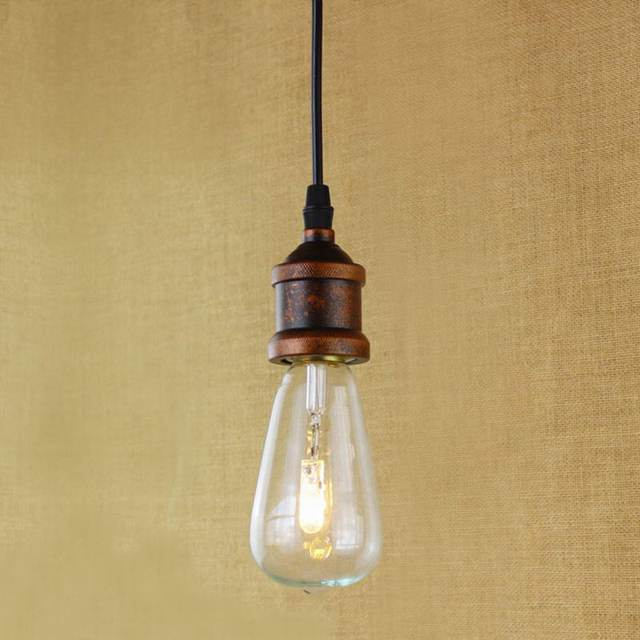 Industrial Recycled Retro One Head Buster Hanging Pendant Lamp With - Kitchen ceiling light bulbs