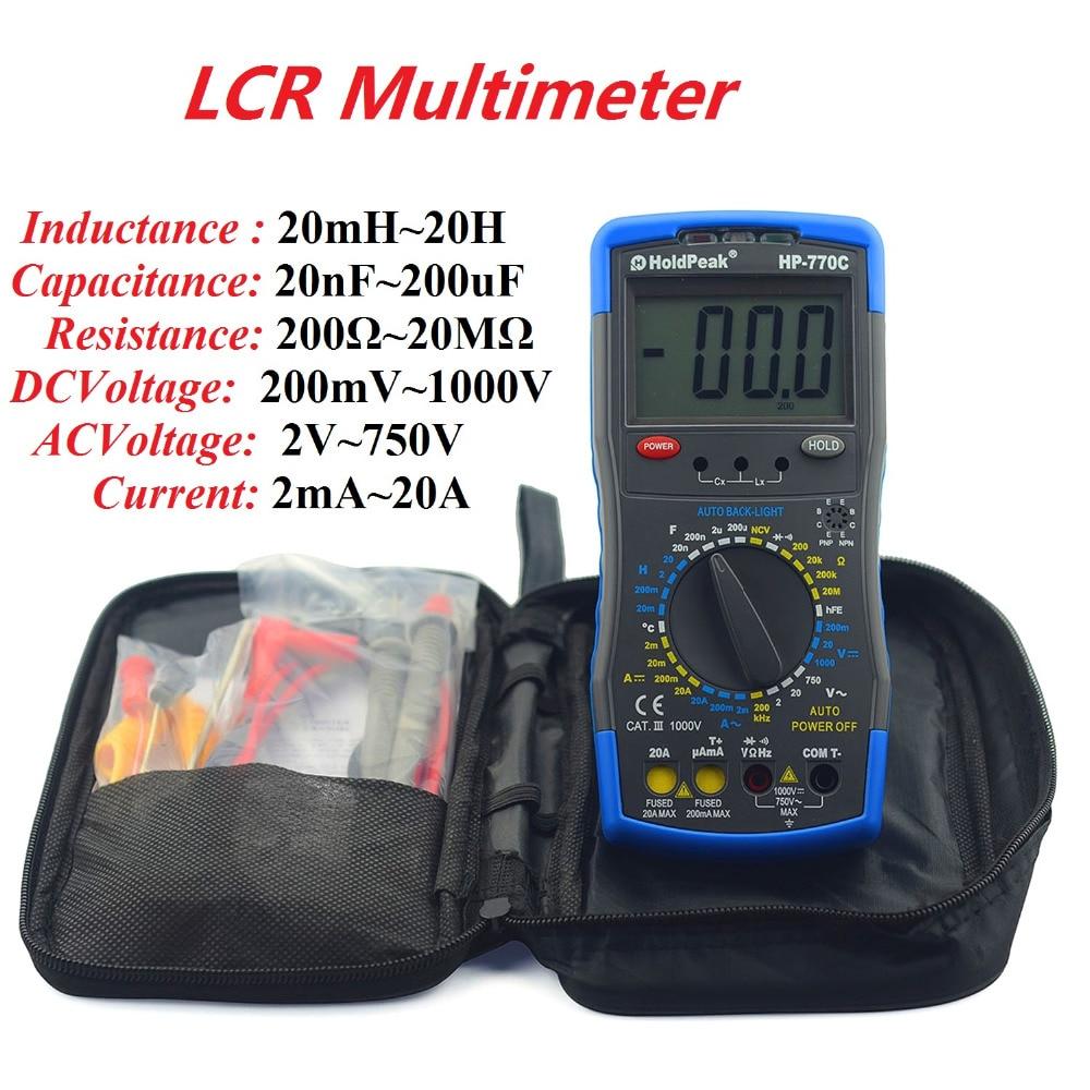 HoldPeaK HP-770C Digital LCR Meter Capacitance Meter Inductance Meter Multimetro Digitais with Carry Bag  цены
