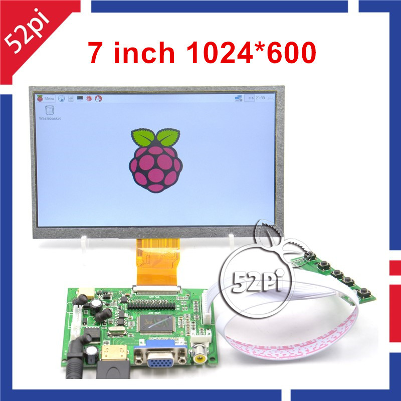 52Pi 7 inch TFT LCD 1024*600 Display Monitor Screen with Drive Board ( HDMI + VGA + 2AV ) for Raspberry Pi / PC Windows 7 inches 1024 600 ips screen display lcd tft monitor ej070na 01j with remote driver control board 2av hdmi vga for raspberry pi