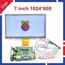 52Pi Nave de CN/EE. UU./REINO UNIDO! 7 pulgadas LCD 1024*600 Pantalla del Monitor de Visualización con Placa de Accionamiento (HDMI + VGA $ number AV) para Raspberry Pi/PC Con Windows