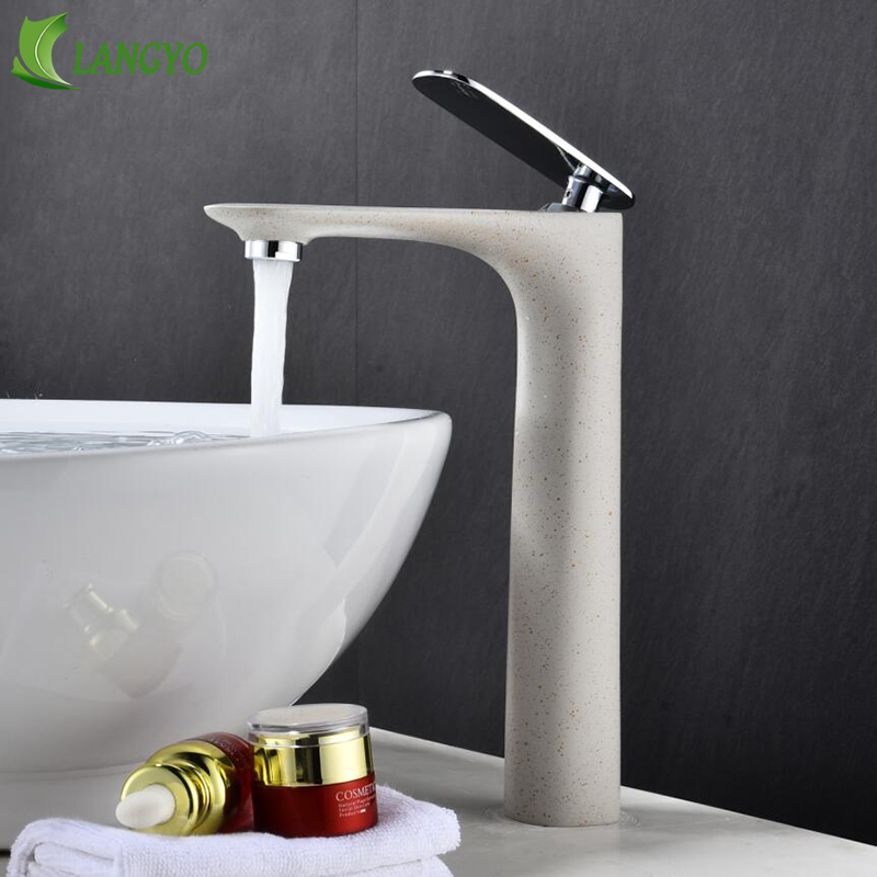 LANGYO Luxury bathroom sink faucet Modern Style Home Multi-color basin Faucet Cold and Hot Water Tap Single Handle basin mixer