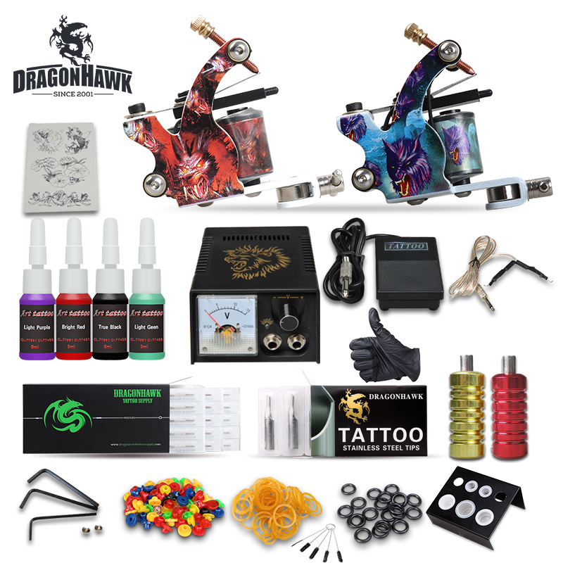 Complete Tattoo Starter Kits Tattoo Machine Power Ink Sets Needles Accessories professional tattoo kits liner and shader machines immortal ink needles sets power supply