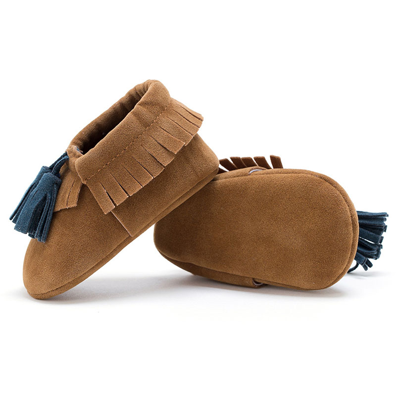 Newborn Baby Moccasin First Walkers Bebe Infant Soft PU Shoes Fringe Tassel First Walkers Soled Non-slip Footwear Crib Shoes