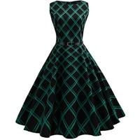 Women Green Black Plaid Dress Female Elegant Sleeveless Print Vintage 1950s 60s Party Casual Dresses Cute